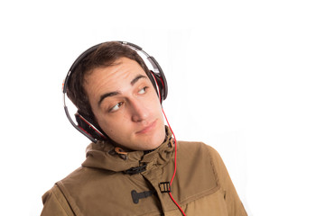 Portrait of dj club man with its modern headphones, isolated on