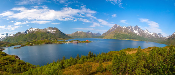 scenic view from Sildpollnes of fjord and snow mountains, Norway