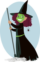 Little Evil Witch with a mop