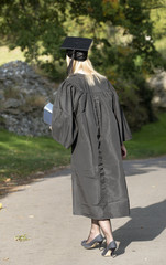 Mature University student in gown