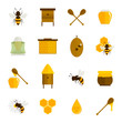 Bee honey icons flat set - 70962193