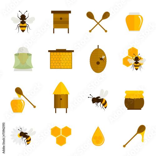 Bee honey icons flat set - 70962193