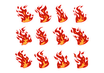 Set of 12 vector fire elements.