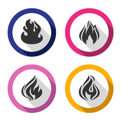 Set icons fire flames