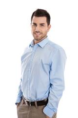 Bewerbungsfoto: attraktiver junger Business Mann isoliert