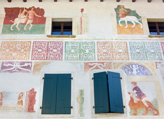 Frescoed Wall on Historic Building in Spilimbergo, Italy