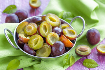 Sliced plums