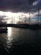 canvas print picture - Hafen im Sonnenuntergang