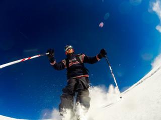Skiing on powder snow