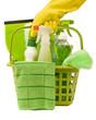 Leinwanddruck Bild - Carrying Green Cleaning Supplies