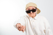 cool grandma kicks with her fist