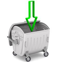 Открытый мусорный контейнер с зелёной стрелкой