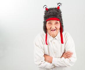 grandma in funny hat