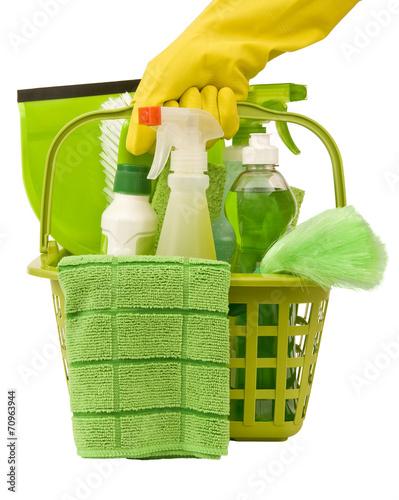 Leinwanddruck Bild Carrying Green Cleaning Supplies