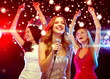 Obrazy na płótnie, fototapety, zdjęcia, fotoobrazy drukowane : three smiling women dancing and singing karaoke