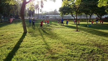 Niños jugando al fútbol en el parque