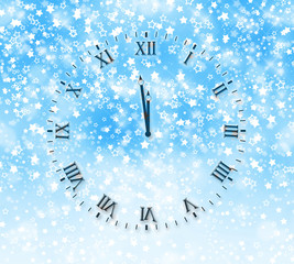 Abstract snow background with New Year's clock face