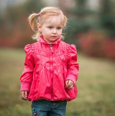 little cute girl  on the walk