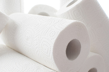 Composition with paper towel rolls