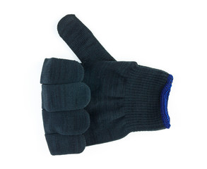 thumb up sign hand glove isolated on white background