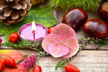 Herbststimmung - Teelicht mit Blüte