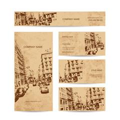 Business card, urban design. Street of Barcelona city