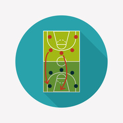 basketball strategy board flat icon with long shadow,eps10