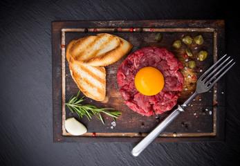 fresh beef tartar with egg