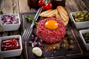 fresh beef tartar with egg