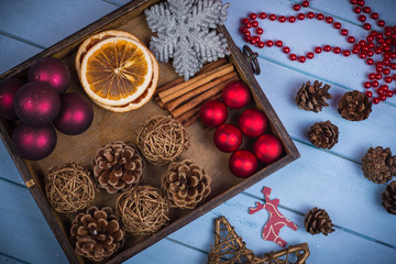 Retro wooden box with Christmas decorations