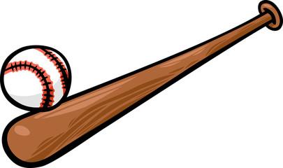 baseball ball and bat cartoon clip art