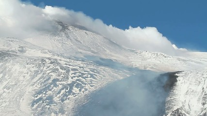 Etna lava on the snow