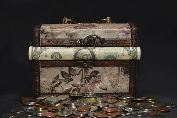 Wooden vintage chest with american money, dolars