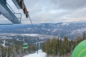 Gondola Lift Over Valley