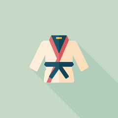 Karate suit flat icon with long shadow,eps10