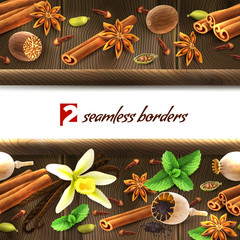 Spices seamless borders