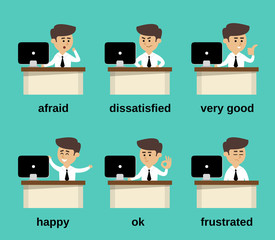 Businessman emotions set