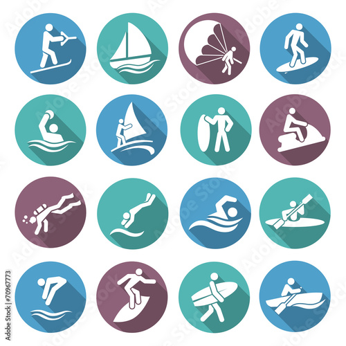 Water Sports Icons Set - 70967773