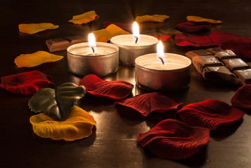 Romantic Candelight With Chocolate and Rose Petals