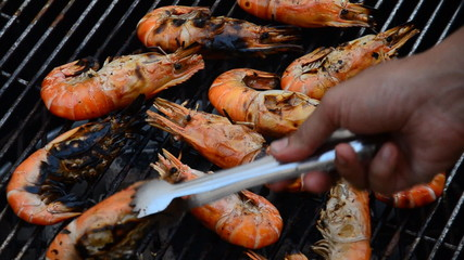 Grilled shrimp on the stove. HD