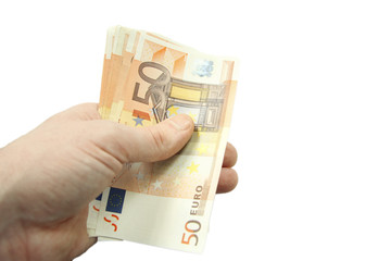 Stack of fifty euro banknotes isolated on the white background