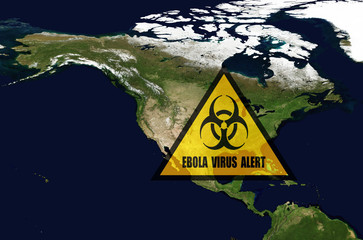 Ebola danger inUSA.Elements of this image furnished by NASA.