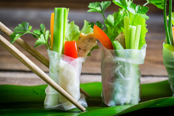 Closeup of spring rolls with vegetables
