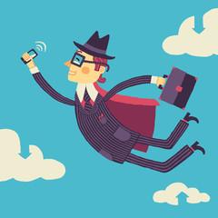 Летящий в облачном хранилище бизнесмен со смартфоном в руке