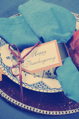 Vintage style Happy Thanksgiving dining table place setting