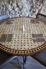Table set up in a dining room