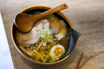 Japanese soup with pork, egg and vegetable