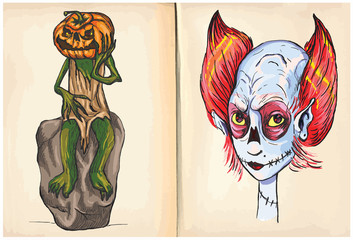 jack and monster head - hand drawings, vector