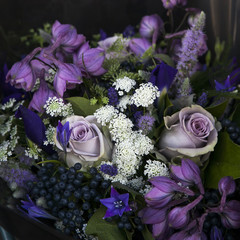 bouquet of rose, bluebells and black chokeberry