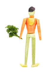 Healthy eating. Man made of vegetables, isolated on white